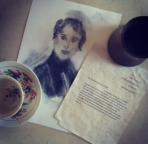 A painting, a letter and a teacup