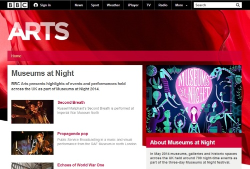 The homepage of Museums at Night coverage on BBC Arts