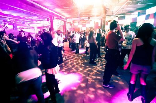 A silent disco dancefloor